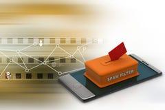 Skräppostfilter i den smarta telefonen Arkivfoton