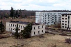Skrunda-1 советское город-привидение в лесах Латвии Стоковая Фотография