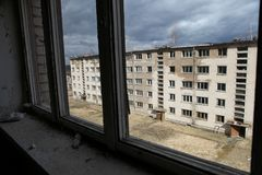 Skrunda-1 советское город-привидение в лесах Латвии Стоковое Фото