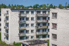 Skrunda in Latvia. Blocks of flats in abandoned former Soviet military town Skrunda in Latvia royalty free stock photo