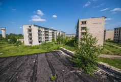Skrunda in Latvia. Residential buildings in abandoned former Soviet military town Skrunda in Latvia stock photos