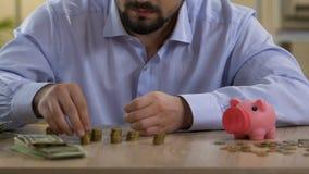 Skrupulatnie kawaler planuje jego miesięcznego budżet, stawia monetę w prosiątko banku zbiory