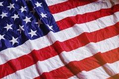 Skruvad upp USA flaggatextur Fotografering för Bildbyråer