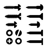 Skruvar muttrar och spikar symbolsuppsättningen vektor illustrationer
