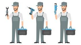 Skruvmejsel för skiftnyckel för hållande hjälpmedel för Repairman royaltyfri illustrationer