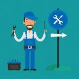 Skruvmejsel och skiftnyckel för Repairman hållande vektor illustrationer