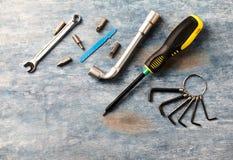 Skruvmejseln förhäxer tangenter, hålighetskiftnyckeln och bitar för en skruvmejsel på lantlig träbakgrund arkivfoto