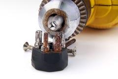 Skruvmejslar för övre rost för slut metalliska Arkivfoto