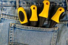 Skruvmejslar i fack av jeans Arkivbilder
