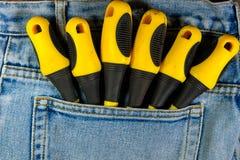 Skruvmejslar i facket av jeans Arkivfoton