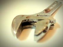 Skruvnyckel hjälpmedel, slut upp, stål, Royaltyfri Foto