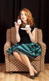 Skrycie target264_1_ tort rudzielec dziewczyna. Zdjęcia Royalty Free