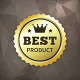 Skrynklar den guld- etiketten för den bästa produktaffären på papper Royaltyfri Bild