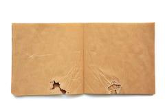 Skrynklig öppen brun skatchbook Arkivfoto