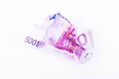 Skrynklig anmärkning för EUR 500 Royaltyfri Fotografi