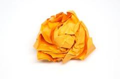 Skrynklig apelsinpappersboll Royaltyfria Bilder