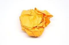 Skrynklig apelsinpappersboll Arkivfoto
