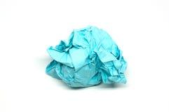 Skrynklig boll för blått papper Fotografering för Bildbyråer