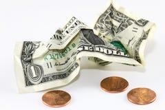 Skrynklig dollar Royaltyfri Foto