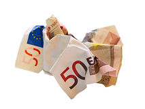 Skrynklig eurobill Arkivbild