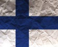 Skrynklig papper texturerad flagga - Finland Arkivfoto