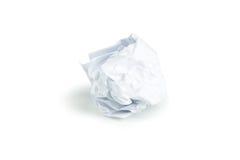 Skrynklig pappers- boll som isoleras på en vit Royaltyfria Foton