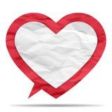 Skrynklig pappers- bubbla av hjärtaform Royaltyfri Foto