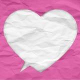 Skrynklig pappers- bubbla av hjärtaform stock illustrationer