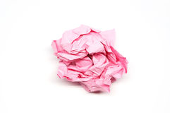 Skrynklig rosa färgpappersboll Arkivfoto