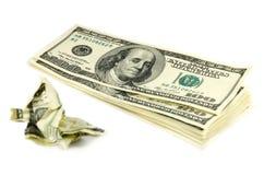 Skrynkliga pengar Arkivbild