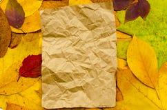 Skrynkligt ark av hantverkpapper på kulör bakgrund för höstsidor med kopieringsutrymme Arkivfoto