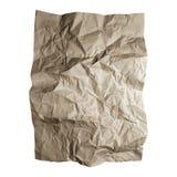 Skrynkligt hantverkpappersark Texturer för brunt papper som isoleras på vit bakgrund Arkivbild