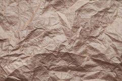 skrynkligt kraft papper Textur skrynklade ?teranv?nt gammalt papper arkivfoto