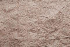 skrynkligt kraft papper Textur skrynklade ?teranv?nt gammalt brunt papper fotografering för bildbyråer