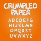 Skrynkligt pappers- alfabet Royaltyfria Bilder