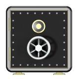 Skrytka, 3d ilustracja, krypta, pudełko, kędziorek, depozyt, bank, bezpieczeństwo, zamykał, ochrona, metal, pieniądze, drzwi, tło Obrazy Stock