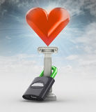 Skrytka twój miłości pojęcie z hearth w niebie Zdjęcie Stock