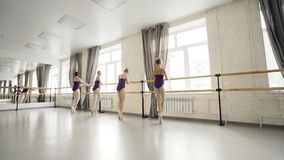 Skrzętnych dzieci baletniczy tancerze tanczy na tiptoe mienia baletniczym barre robią ćwiczeniom podczas gdy ich nauczyciel jest zbiory wideo
