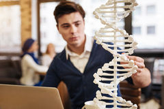 Skrzętny studencki studiuje DNA model Fotografia Royalty Free