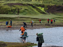 skrzyżowanie brodu Iceland laugavegur fotografia royalty free