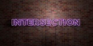SKRZYŻOWANIE - fluorescencyjny Neonowej tubki znak na brickwork - Frontowy widok - 3D odpłacający się królewskość bezpłatny akcyj Obraz Royalty Free
