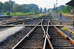 Skrzyżowanie linie kolejowe Fotografia Royalty Free