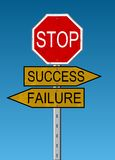 skrzyżowanie niepowodzenia sukces Obraz Stock