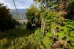 Skrzyczne, cableway βουνά Beskidy Στοκ εικόνα με δικαίωμα ελεύθερης χρήσης