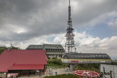 Free Skrzyczne, Poland, July 04, 2020: Peak, With A Tourist Hostel, Meteorological Station And Telephony Tower And Chair Lift Station Royalty Free Stock Image - 190136496