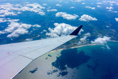 Skrzydło samolotowy latanie Obrazy Royalty Free