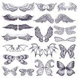 Skrzydło wektorowy latający oskrzydlony anioł z skrzynką ptak i motyl z wingspan rytmu ilustracyjnym czarnym tatuażem ilustracja wektor