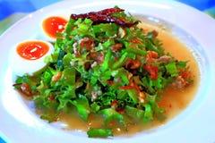 Skrzydłowej fasoli Krewetkowy Sałatkowy Gorący jedzenie w Thailand Fotografia Stock