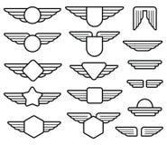 Skrzydłowi wojsko emblematy, lotnictwo odznaki, pilotowe etykietki wykładają wektoru set ilustracja wektor