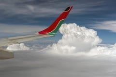 Skrzydło samolot w chmurach Zdjęcie Stock